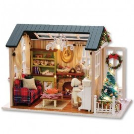 image of CUTEROOM DIY WOODEN HOUSE FURNITURE HANDCRAFT MINIATURE BOX KIT WITH LED LIGHT - HOLIDAY TIME (COLORMIX) -